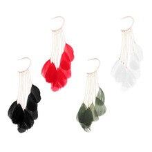 Tassel Feather Long Ear Wrap Charm Cuff Earring Non Pierced Drop Dangle Earrings for Women chic feather shape cuff ring for women
