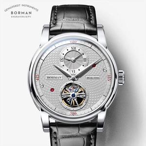 Image 1 - בורמן אוטומטי גברים שעון יוקרה מותג מכאני עצמי רוח שעוני יד רצועת עור שמלת relogio masculino הכפול אזור הזמן