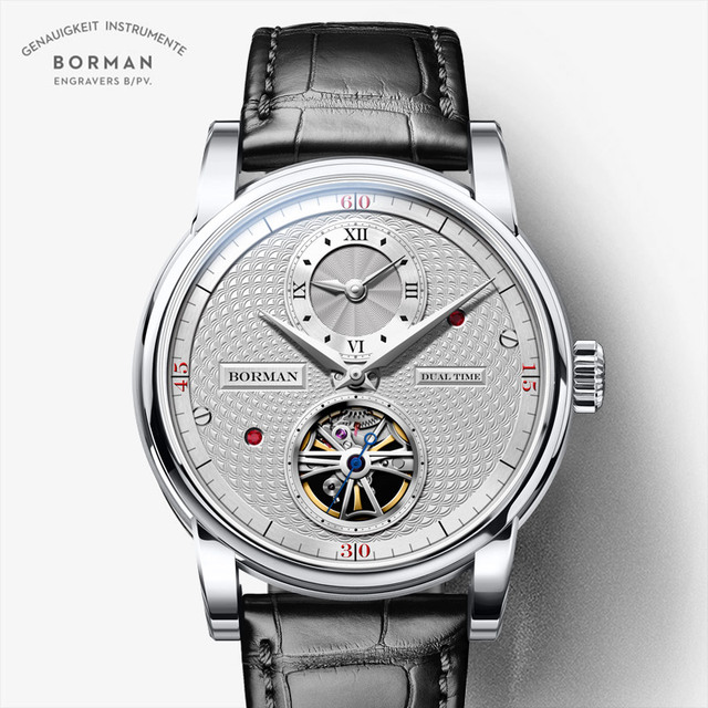 בורמן אוטומטי גברים שעון יוקרה מותג מכאני עצמי רוח שעוני יד רצועת עור שמלת relogio masculino הכפול אזור הזמן