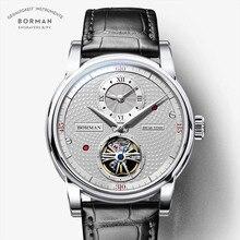 BORMAN montre automatique en cuir pour hommes, bracelet, de marque de luxe, mécanique à vent, à double fuseau horaire