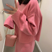 Elegant Ladies Solid Cashmere Sweater  Skirt 2 Piece Set Women Fashion