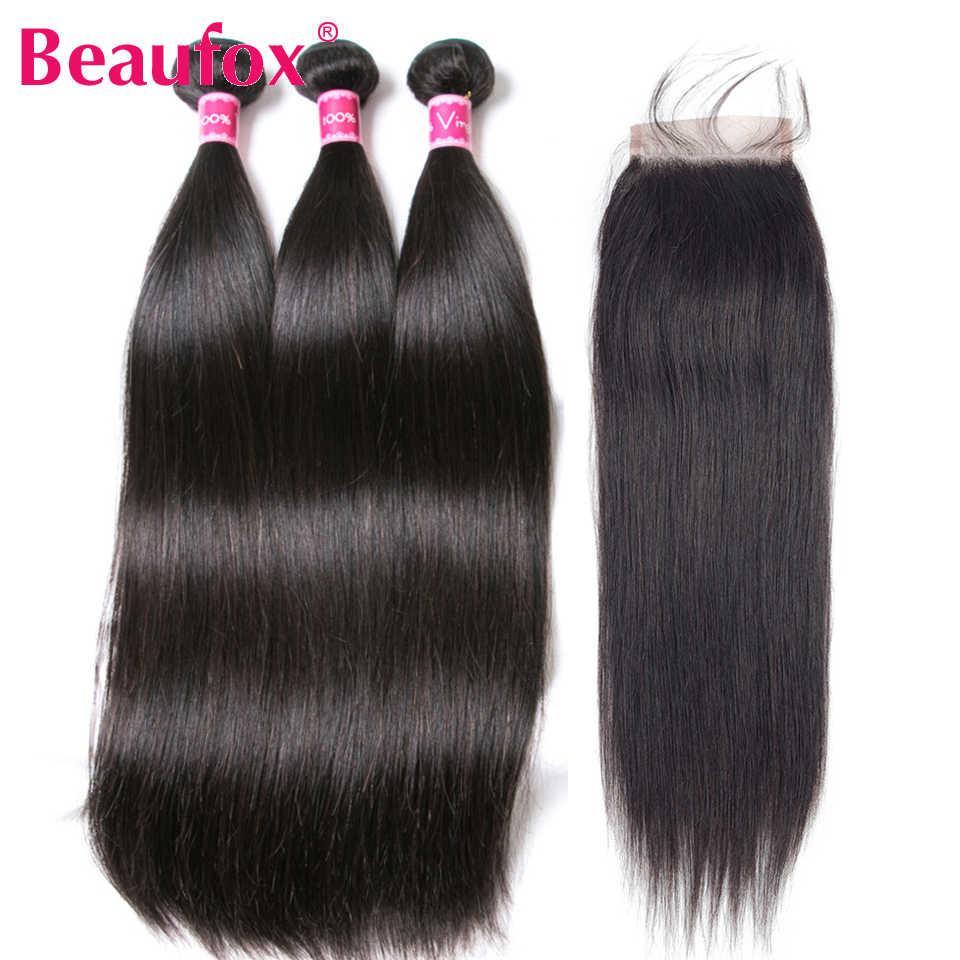 Beaufox Straight Human Hair Bundles With Closure Remy Brazilian Hair Weave Bundles With Closure 3 Bundles With Closure Free Part