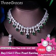 Trois grâces de luxe vert CZ pierre boucles doreilles collier ensemble brillant grande longue goutte de mariage robe de mariée ensemble de bijoux pour les femmes JS256