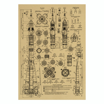 Rocket sketch Poster Bar Kids Dorm Room Home Decor Kraft Paper Painting Decorative Paintings image