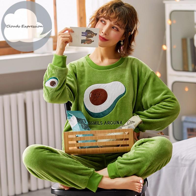 Winter Warm Flannel Elegant Women Sleepwear Pajamas Lady Cartoon Print Pajama Set Pullover Coral Fleece Pijamas Mujer Home Suits
