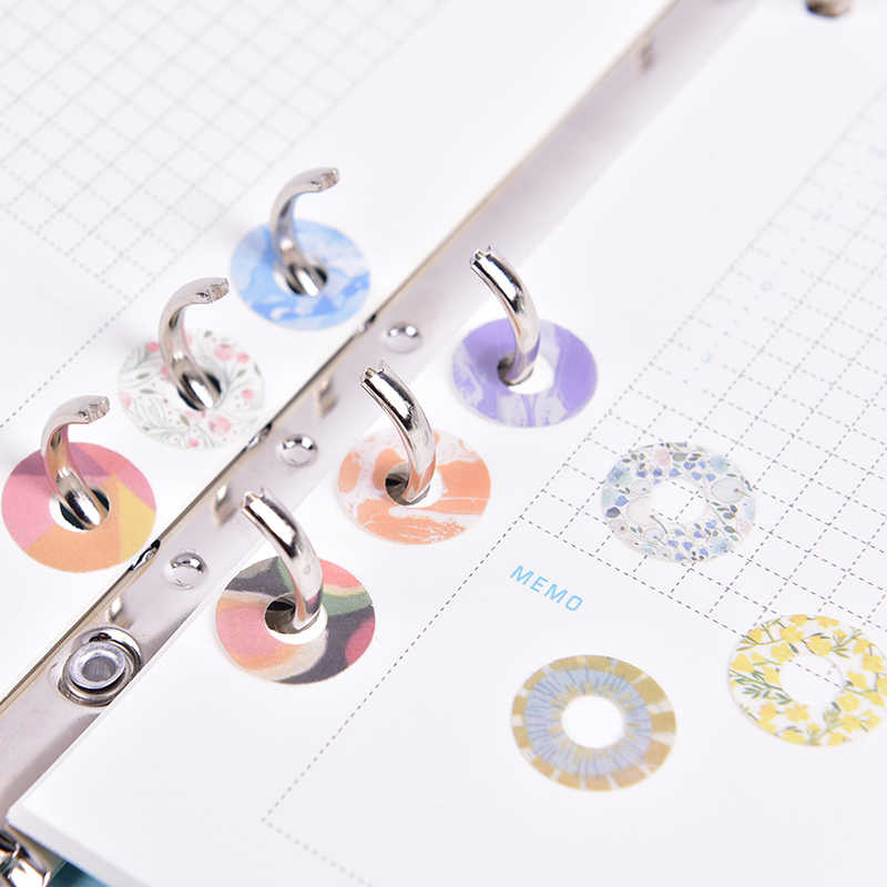 60PCS cute creative decorative stickers for protecting filler papers holes binder spiral spiral notebooks accessories statione