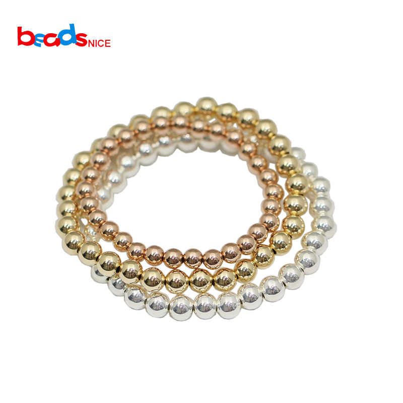Beadsnice Gold Filled Bead Bracelet 2-6mm Beads Sterling Silver Beaded Layering Bracelet 40012