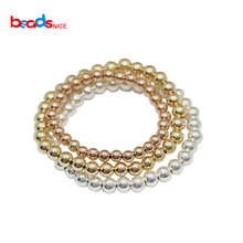 Beadsnice Gold Filled Bead Bracelet 2-6mm Beads Sterling Silver Beaded Layering 40012