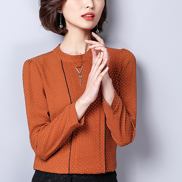 Polka Dot Shirts Woman Clothes Long Sleeve Chiffon Blouse Women 2020 Spring Tops New Button Blouses Casual Black Chemisier Femme 1