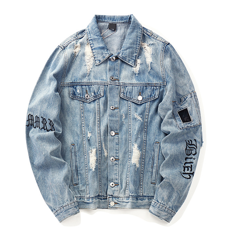 Letter Embroidery Denim Jacket Man/Women Single Breasted Holes Jeans Coat 2019 Autumn Harajuku Loose