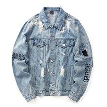 Letter Embroidery Denim Jacket Man/Women Single Breasted Holes Jeans Coat 2019 Autumn Harajuku Loose Denim Jacket Coat цена