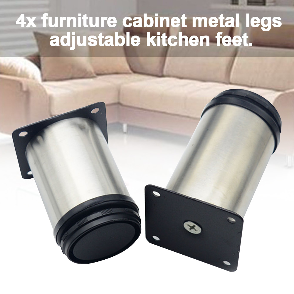 4Pcs 5CM-20CM Furniture Adjustable Cabinet Legs Stainless Steel Furniture Legs Cabinet Table Sofa Bed Feet Furniture Legs Feet