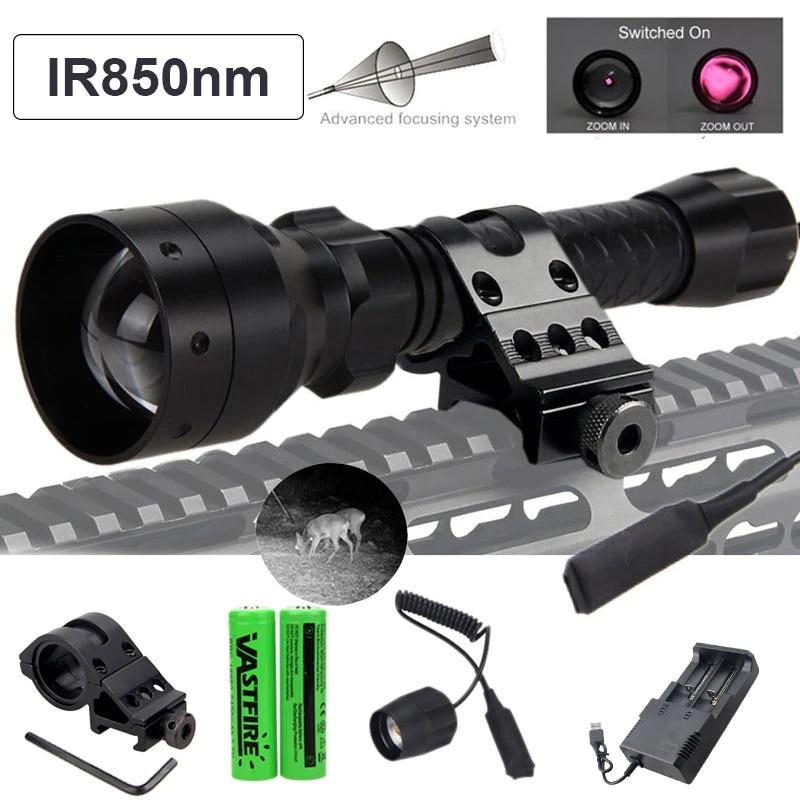 IR 850//940nm Flashlight Infrared illuminator Zoomable Night Vision Scope Torch