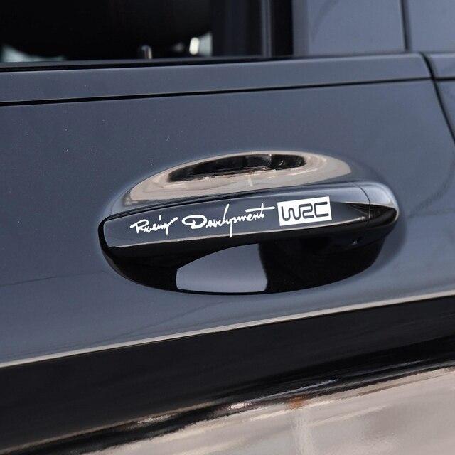 4 stücke Auto Styling Mode Kreative Auto Dekorative Decals Welt Racing Entwicklung WRC Auto Tür Griff Vinyl Auto Körper Aufkleber