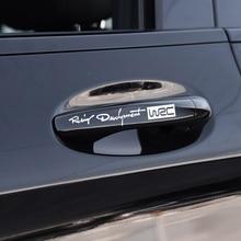 4pcs Car Styling Modo Creativo Auto Decalcomanie Decorative Del Mondo Racing Development WRC Auto Porta Maniglia Dellautomobile Del Vinile Decalcomanie Del Corpo