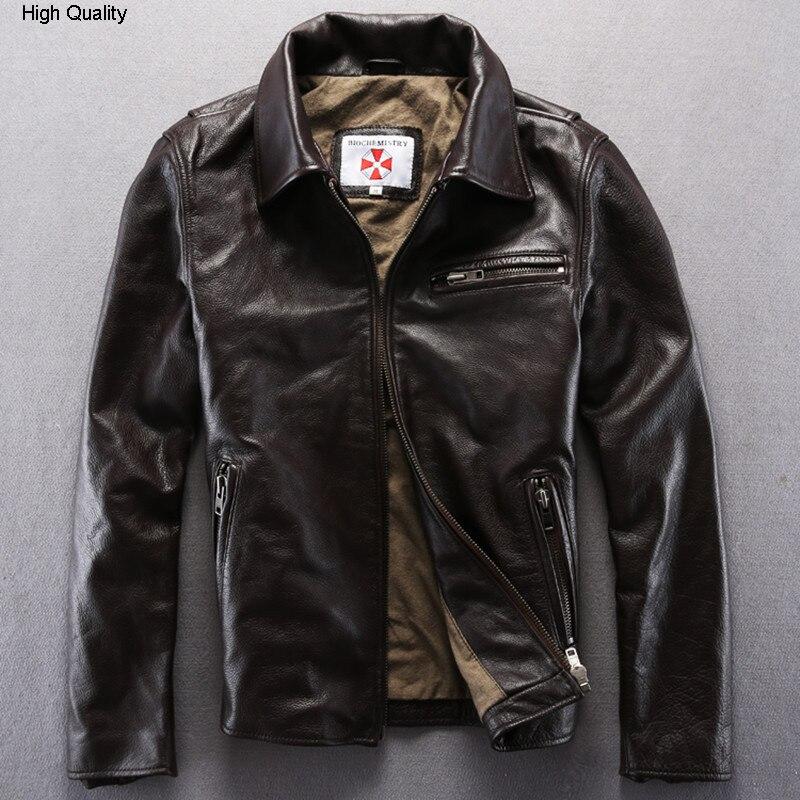 Dark Brown Genuine Turn Down Collar Real Cowskin Solid Wind Jacket Male Casual Zipper Leather Coat Men