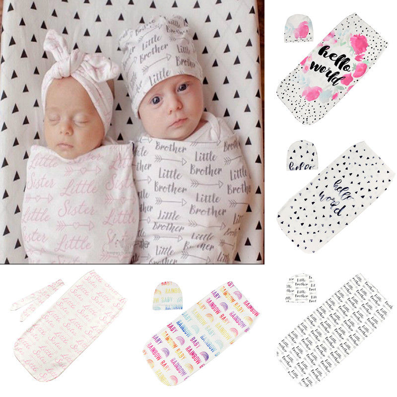 2Pcs/Set Cartoon Floral Newborn Swaddle Blanket Baby Cocoon Sleeping Bag Muslin Wrap +Hat Warm Covers  2020 Bedding