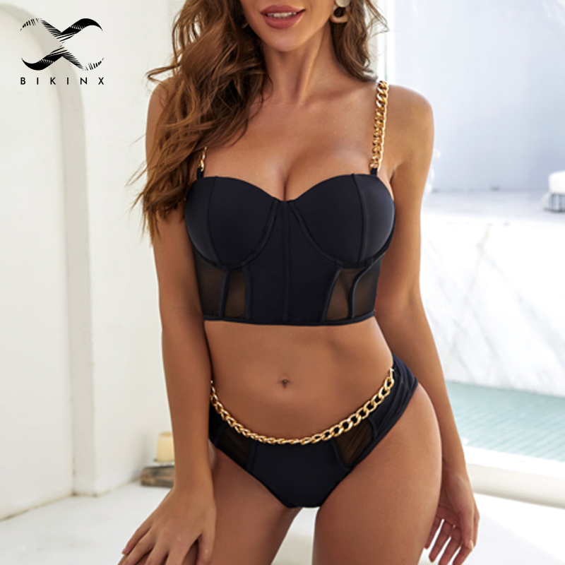 Sexy Solid Black Swimsuit Female Chain Bikini Set 2020 Push Up Swimwear Women Vintage Bathers Bathing Suit Summer Beach Biquini
