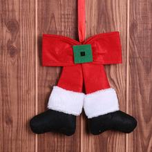 Door Christmas Ornament Stripe Red Cloth Bowknot Christmas Tree Hanging Ornament Home Party Decor new цены