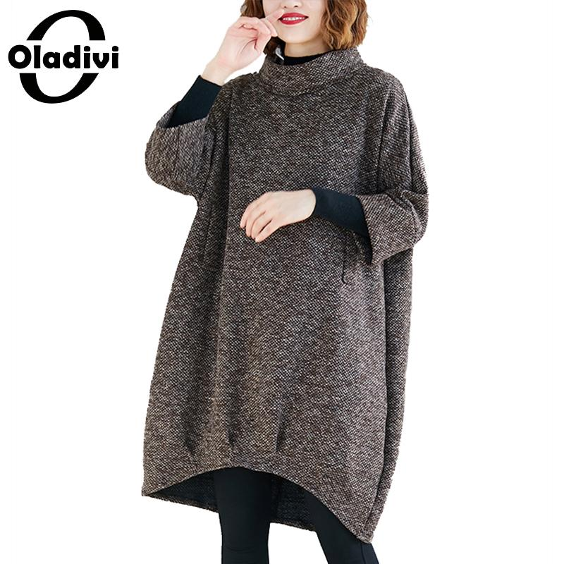 Oladivi Autumn Winter Women Turtleneck Hoodies Big Plus Size Casual Loose Female Top Sweatshirt 2019 Girl Thick Tunics Pullovers