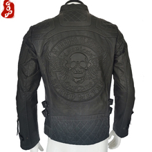 CLEARANCE SALE ! Thin Men Leather Jacket Skull 100% Natural Cowhide Leather Coat Men Leather Clothing M183