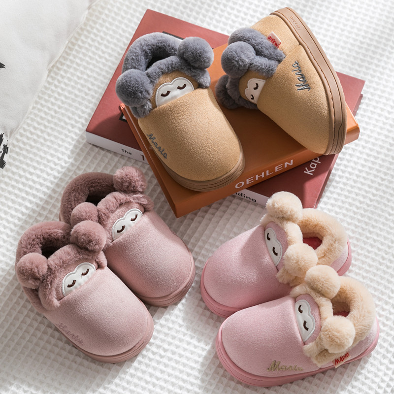 2019 Winter Kids Slippers For Girls Baby Cotton Slippers Fashion Cartoon Boys Plush Home Flats Shoes Indoor Children Flip Flops