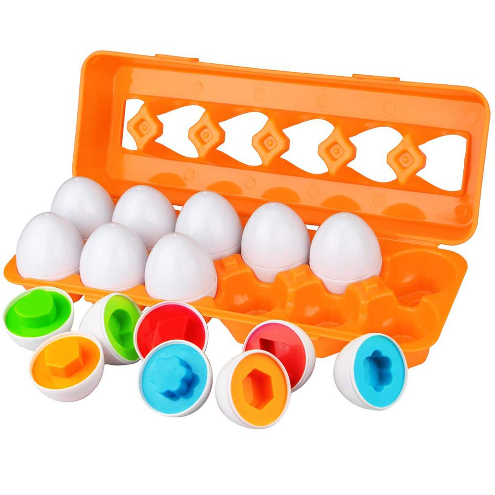 12Pcs Matching Simulate Eggs Shapes Colors Number Sorter Educational Kids Toy New