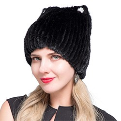 Middle aged women in the winter: mink fur women's knitted sweater hat new fashion European and American cat style ski caps 6