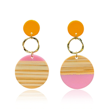 DREJEW Contrast Color Pink Blue Green Statement Earrings 2019 Geometric Round Resin Alloy Drop for Women Weddings E9361