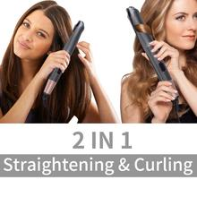 3D Concave&Convex Gold Titanium Flat Iron Twist 2 in 1 Hair Curling & Straighten