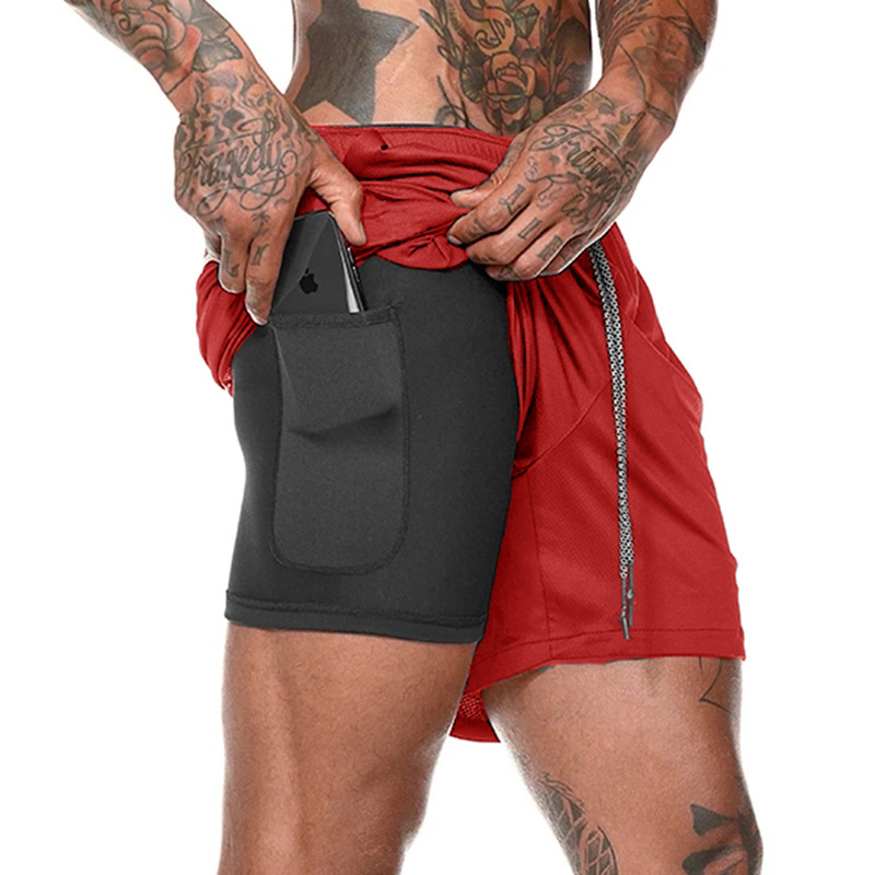 Closeout DealsRunning Shorts Gym Jogging Fitness Summer Quick-Drying Men's 2-In-1