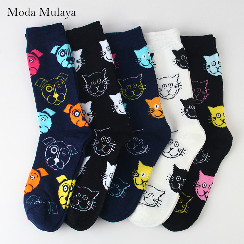 Autumn Winter New Arrival Happy Socks Men/Women Funny Creative Cartoon Cat Dog Couple Socks Casual Cotton Skateboard Long Socks