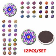 12PCS Mandala Fridge Magnet Glass Dome Buddhist Totem Sticker Creative Flower Home Decoration