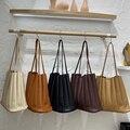 Однотонная женская сумка, Женская плиссированная сумка на шнурке, маленькие сумочки, дизайнерские сумки, комплекты японских дамских сумок ...