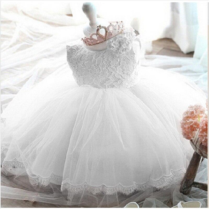 2020 Infant Baby Girls Flower Dresses Christening Gowns Newborn Babies Baptism Clothes Princess Tutu Birthday White Bow Dress