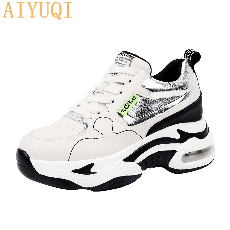 AIYUQI Women's Shoes Spring 2020 Internal Increase Fashion Lace-up Casual Sneakers Women's Tide Thick Bottom Wild Shoes Women