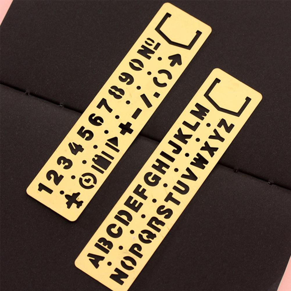 Vintage Brass Bookmark Ruler Multi-function Drawing Ruler Template Ruler Digital Letter Empty Hand Ruler Ruler