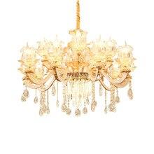 European Crystal Chandelier Living Room Hotel Luxury Duplex Building Villa Restaurant Bedroom Zinc Alloy Candle Glass Lamps