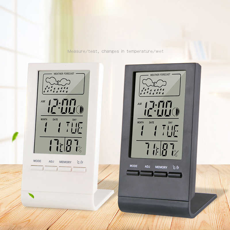 Thermometer Hygrometer Gauge Indicator Indoor/Outdoor Weather Station Automatic Electronic Temperature Humidity Monitor Clock