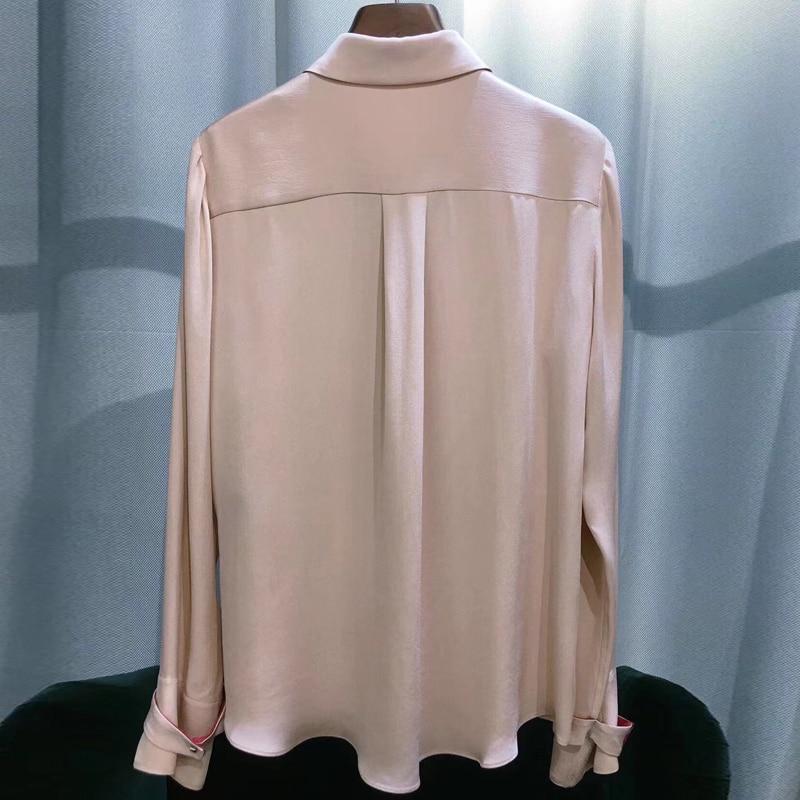 Женские блузки 2019 мода длинный рукав отложной воротник офисная рубашка свободна блузка рубашка повседневные топы плюс размер Blusas Femininas - 2