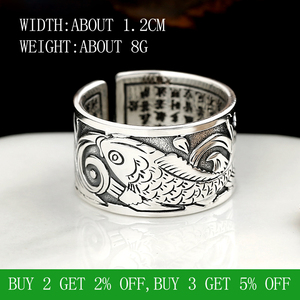 Image 2 - BALMORA Real 999 Silver Vintage Koi Open Stacking Finger Rings for Men Women Couple Special Gift Buddhism Sutra Fashion Jewelry