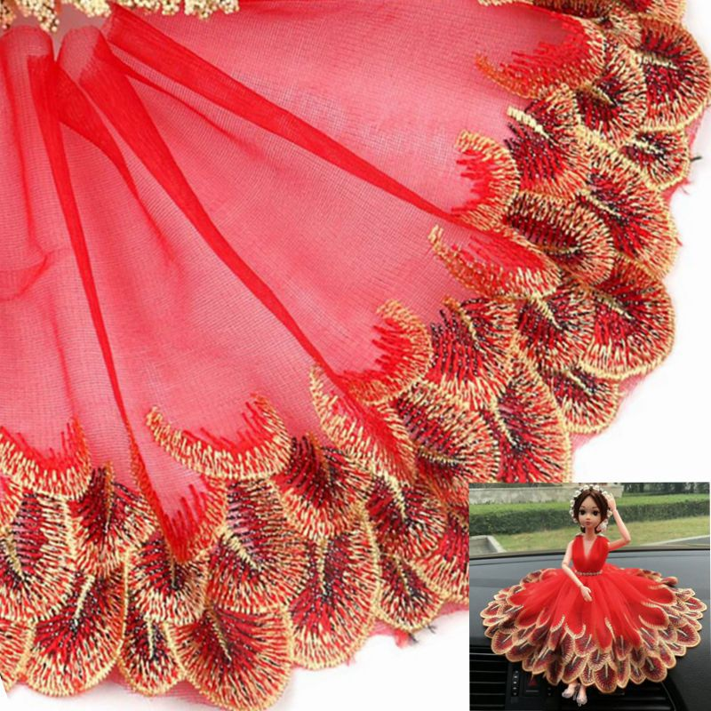 Colored Gold Mesh Yarn Peacock Feather Lace Home Textile Embroidery Vehicle-borne Doll Clothing Accessories