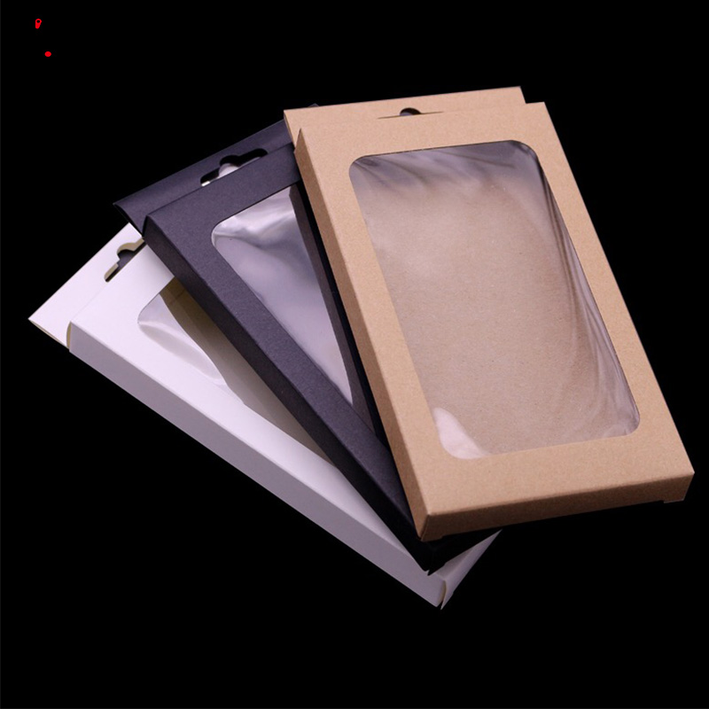 4 Sizes Black Kraft Paper Box With Pvc Window For Mobile Phone Case Universal Phone Box Retail Phone Case Packaging Box