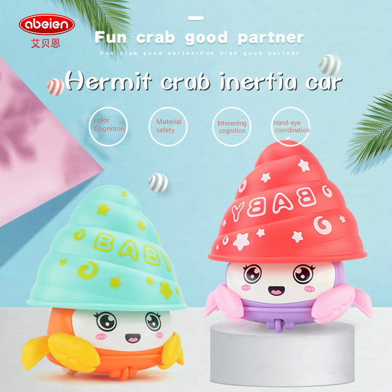 Crab Toy Car Children 1-3 Years Old Baby Press Colorful Hermit Pressure Inertia Resilience for Boys Toddler Kids