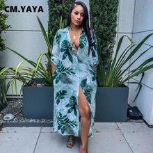 CM.YAYA – robe longue à manches mi-longues pour femmes, col rabattu, simple boutonnage, ample, droite, tenue de bureau, de rue