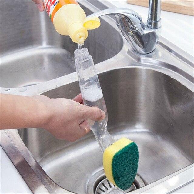 Schotelwas Tool Reinigingsborstel Zeepdispenser Handvat Hervulbare Kommen Spons Borstel Voor Keuken Organizer Accessoires