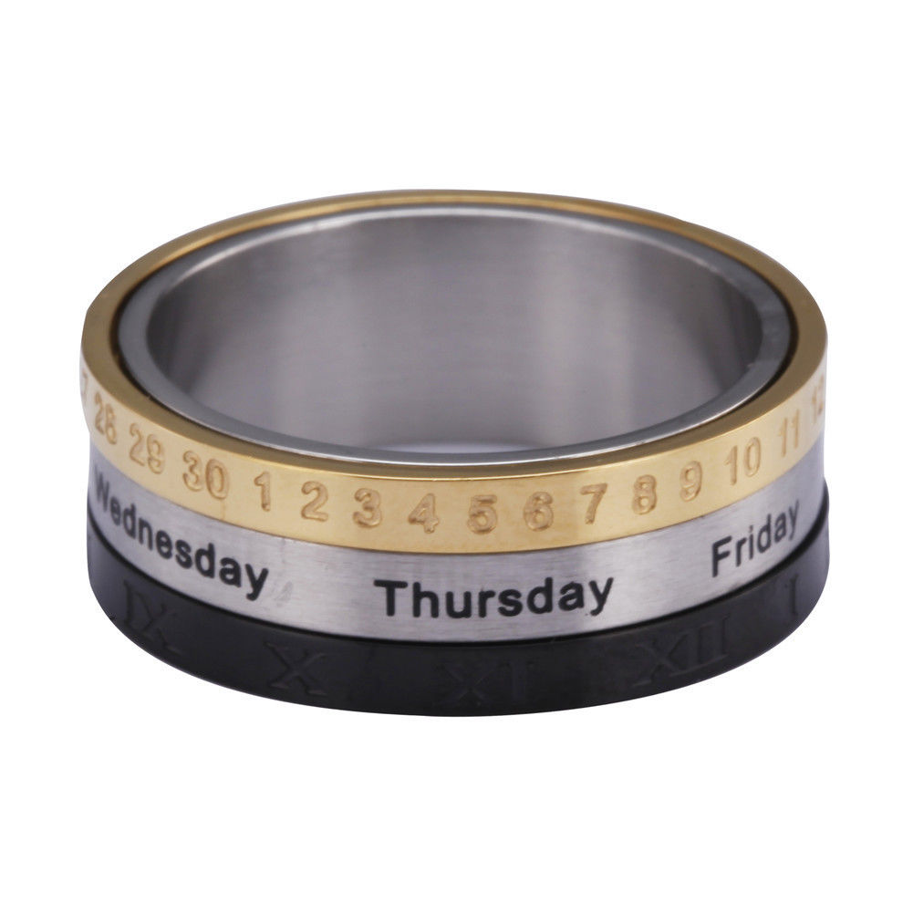 New Men Titanium Steel Spinning Week Date Rings Calendar Rings in Rings from Jewelry Accessories