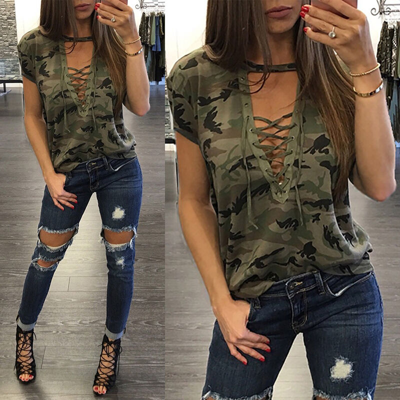 Gooheer Women's Fashion Clothes Camouflage T-shirts Tops Summer Short Sleeve Lace Up Tops Casual V-Neck T-Shirt Camo Woman Tees