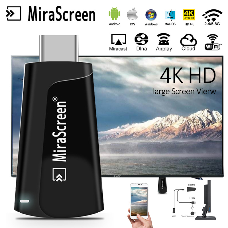 4K Wifi Display TV Dongle 2.4G/5G Dual Band Dual Core Wireless HDMI Miracast TV Stick MiraScreen Wireless Display Adapter Cast