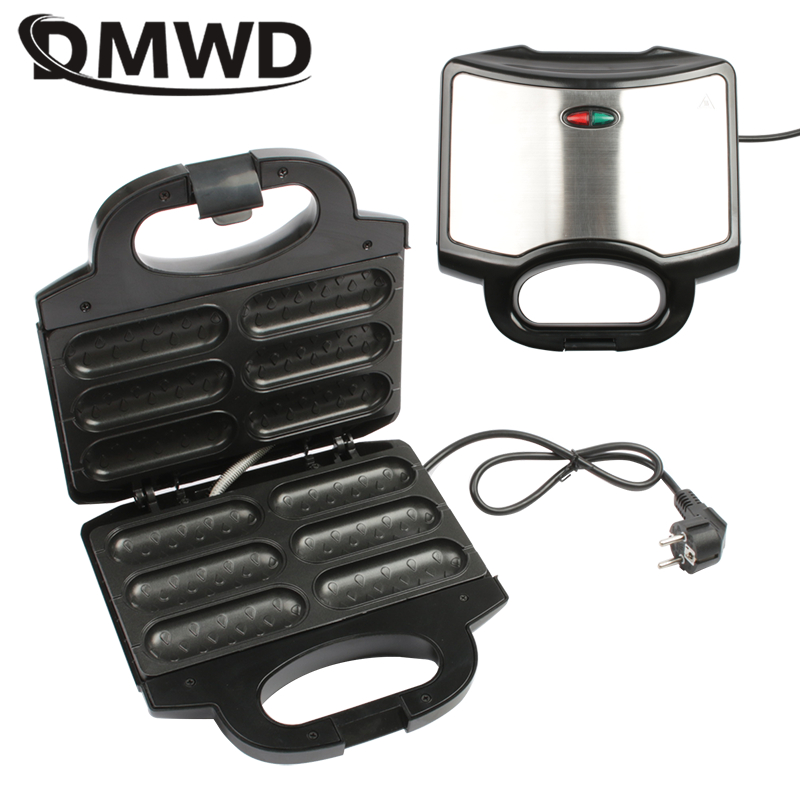 DMWD Electric hot dog waffle maker Non-stick coating Crispy corn French muffin Sausage Baking machine Barbecue for Breakfast EU image
